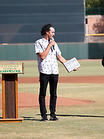 Cole Tucker of the Surprise Saguaros receives the Dernell Stenson award prior to the Arizona Fall League championship game won by the Peoria Javelinas, 3-2 in 10 innings, over the Salt River Rafters at Scottsdale Stadium on November 17, 2018 in Scottsdale, Arizona (Bill Mitchell)