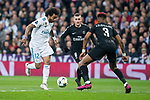 Real Madrid Marcelo and PSG Presnel Kimpembe and Marco Verrati during Eight Finals Champions League match between Real Madrid and PSG at Santiago Bernabeu Stadium in Madrid , Spain. February 14, 2018. (ALTERPHOTOS/Borja B.Hojas)