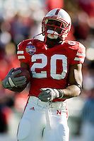 01 January 2007: Nebraska running back Marlon Lucky (#20) warms up before the 2007 AT&T Cotton Bowl Classic between The University of Auburn and The University of Nebraska at The Cotton Bowl in Dallas, TX.