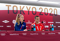 TOKYO, JAPAN - JULY 20: Becky Sauerbrunn #4 and Vlatko Andonovski of the USWNT talks to the media during a press conference during a press conference at Tokyo Stadium on July 20, 2021 in Tokyo, Japan.TOKYO, JAPAN - JULY 20: Becky Sauerbrunn #4 and Vlatko Andonovski of the USWNT talks to the media during a press conference at Tokyo Stadium on July 20, 2021 in Tokyo, Japan.