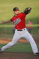 Chris Sorce #18 of the High Desert Mavericks pitches against the Visalia Rawhide at Stater Bros. Stadium on May 15, 2012 in Adelanto,California. (Larry Goren/Four Seam Images)