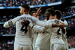 Real Madrid's players celebrate goal during La Liga match between Real Madrid and Real Valladolid at Santiago Bernabeu Stadium in Madrid, Spain. November 03, 2018. (ALTERPHOTOS/A. Perez Meca)