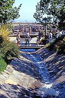 Richard Meier: The Getty Center. Looking up spillway in garden.  Photo '99.