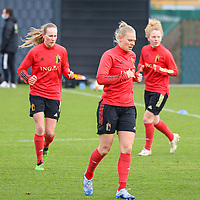 Feli Delacauw (L) and Ella Van Kerkhoven (front) pictured during the training session of the Belgian Women's National Team ahead of a friendly female soccer game between the national teams of Germany and Belgium , called the Red Flames in a pre - bid tournament called Three Nations One Goal with the national teams from Belgium , The Netherlands and Germany towards a bid for the hosting of the 2027 FIFA Women's World Cup ,on 19th of February 2021 at Proximus Basecamp. PHOTO: SEVIL OKTEM | SPORTPIX.BE