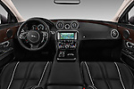 Stock photo of straight dashboard view of 2016 Jaguar XJ Premium Luxury 4 Door Sedan Dashboard