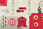 Illustrative image representing exchange of international currencies