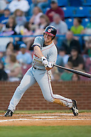 Beau Mills (27) of the Kinston Indians takes his swings versus the Winston-Salem Warthogs at Ernie Shore Field in Winston-Salem, NC, Saturday May 17, 2008.