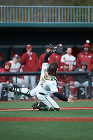 Charlotte 49ers catcher Zack Smith (19) can't make the catch on this pop fly during the game against the Arkansas Razorbacks at Hayes Stadium on March 21, 2018 in Charlotte, North Carolina.  The 49ers defeated the Razorbacks 6-3.  (Brian Westerholt/Four Seam Images)