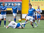Kilmarnock v St Johnstone...19.09.15  SPFL Rugby Park, Kilmarnock<br /> Graham Cummins is tackled by Jamie Hamill<br /> Picture by Graeme Hart.<br /> Copyright Perthshire Picture Agency<br /> Tel: 01738 623350  Mobile: 07990 594431