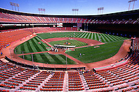SAN FRANCISCO, CA - General overall interior stadium view of the home of the San Francisco Giants, Candlestick Park, during batting practice before a game against the Los Angeles Dodgers in San Francisco, California in 1987. Photo by Brad Mangin