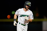 Beloit Snappers Kameron Misner (23) rounds the bases after hitting a home run during a game against the Peoria Chiefs on August 18, 2021 at ABC Supply Stadium in Beloit, Wisconsin.  (Mike Janes/Four Seam Images)
