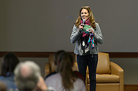 Bridgeview, IL - Saturday May 06, 2017: Julie Foudy speaks before a regular season National Women's Soccer League (NWSL) match between the Chicago Red Stars and the Houston Dash at Toyota Park.