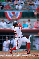 Florida Fire Frogs center fielder Cristian Pache (25) follows through on a swing during a game against the Daytona Tortugas on April 7, 2018 at Osceola County Stadium in Kissimmee, Florida.  Daytona defeated Florida 4-3.  (Mike Janes/Four Seam Images)