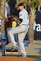 Frederick Keys pitcher Mike Wright #17 warming up in the bullpen before a game against the Myrtle Beach Pelicans at Tickerreturn.com Field at Pelicans Ballpark on April 25, 2012 in Myrtle Beach, South Carolina. Myrtle Beach defeated Frederick by the score of 3-1. (Robert Gurganus/Four Seam Images)