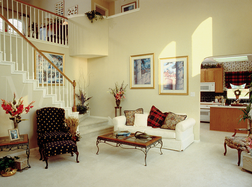 Home interior. Living room. Stairs. Houston Texas.