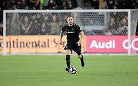 LOS ANGELES, CA - OCTOBER 29: Jordan Harvey #2 of the Los Angeles FC looks downfield for an open man during a game between Seattle Sounders FC and Los Angeles FC at Banc of California Stadium on October 29, 2019 in Los Angeles, California.
