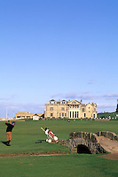 18th Hole and fairway at Swilken Bridge Golf , St Andrews Old Course, St Andrews, Scotland