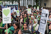 Silent march on the first anniversary of the Grenfell Tower fire, North Kensington, London.