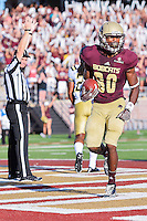 Texas State wide receiver Jafus Gaines (80) celebrates a down during first half of NCAA Football game, Saturday, August 30, 2014 in San Marcos, Tex. Texas State leads Arkansas Pine-Bluff 42-0 at the halftime. (Mo Khursheed/TFV Media via AP Images)