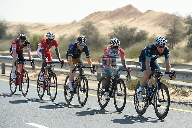 The breakaway group in the desert during Stage 1 The Nakheel Stage of the Dubai Tour 2018 the Dubai Tour's 5th edition, running 167km from Skydive Dubai to Palm Jumeirah, Dubai, United Arab Emirates. 6th February 2018.<br /> Picture: LaPresse/Fabio Ferrari   Cyclefile<br /> <br /> <br /> All photos usage must carry mandatory copyright credit (© Cyclefile   LaPresse/Fabio Ferrari)