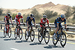 The breakaway group in the desert during Stage 1 The Nakheel Stage of the Dubai Tour 2018 the Dubai Tour's 5th edition, running 167km from Skydive Dubai to Palm Jumeirah, Dubai, United Arab Emirates. 6th February 2018.<br /> Picture: LaPresse/Fabio Ferrari | Cyclefile<br /> <br /> <br /> All photos usage must carry mandatory copyright credit (© Cyclefile | LaPresse/Fabio Ferrari)