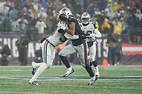 FOXBOROUGH, MA - NOVEMBER 24: Short pass to New England Patriots Wide Receiver Jakobi Meyers #16 is disrupted by Dallas Cowboys Safety Jeff Heath #38 during a game between Dallas Cowboys and New England Patriots at Gillettes on November 24, 2019 in Foxborough, Massachusetts.