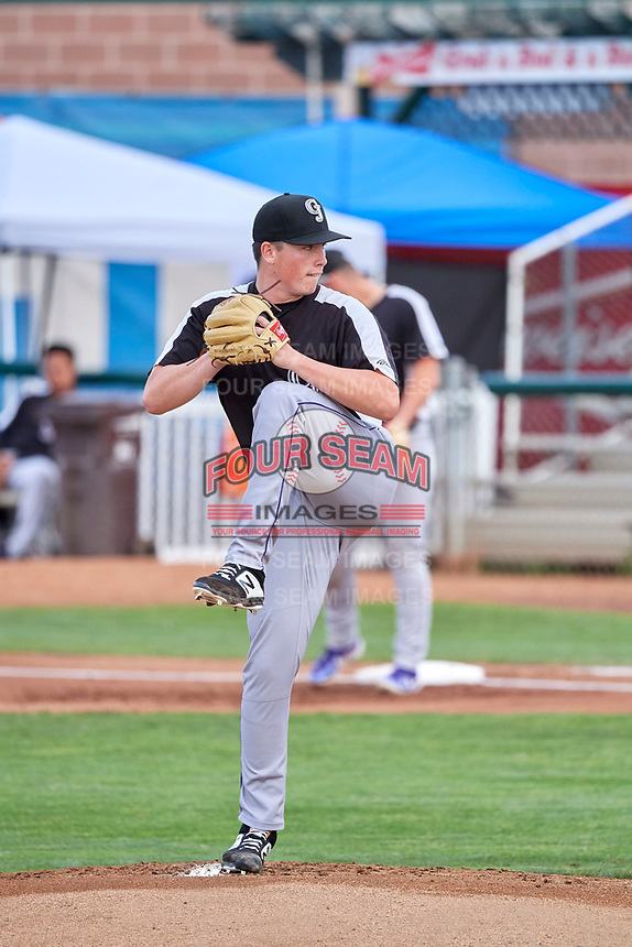 Grand Junction Rockies starting pitcher Mike Ruff (24) delivers a pitch to the plate against the Ogden Raptors at Lindquist Field on July 23, 2019 in Ogden, Utah. The Raptors defeated the Rockies 11-4. (Stephen Smith/Four Seam Images)