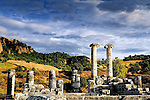 Columns of an ancient temple to Artemis in Sardis, Turkey