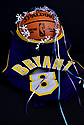 MIRAMAR, FLORIDA - JANUARY 27: (EXCLUSIVE) Kobe Bryant #8 Lakers Jersey photograph draping over a Spalding NBA basketball with a white halo and five ribbon representing Bryant five NBA championship wins. Nine people were killed in the helicopter crash which claimed the life of NBA star Kobe Bryant and his 13 year old daughter Gianna Maria-Onore Bryant, on January 26, 2020. Los Angeles officials confirmed on Sunday. Los Angeles County Sheriff Alex Villanueva said eight passengers and the pilot of the aircraft died in the accident. The helicopter crashed in foggy weather in the Los Angeles suburb of Calabasas. Authorities said firefighters received a call shortly at 9:47 am about the crash, which caused a brush fire on a hillside. in Miramar, Florida  ( Photo by Johnny Louis / jlnphotography.com )
