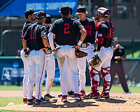 STANFORD, CA - JUNE 4: Team meeting during a game between North Dakota State and Stanford Baseball at Sunken Diamond on June 4, 2021 in Stanford, California.