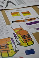 Im Rambler Studio Berlin, ein Projekt der Jugendsozialarbeit mit offenem Design-Kreativ-Angebot, wurde von Obdachlosen und jungen Designerinnen ein Rucksack entsprechend der Beduerfnisse von obdachlosen Menschen entworfen. Eine kleine Stueckzahl der Rucksack wurde aus belastbaren und hochwertigen Materialien handgenaeht. Nun suchen die Betreiberinnen des Sozialprojekts eine Moeglichkeit den Rucksack in groesserer Stueckzahl zu produzieren.<br /> 14.10.2021, Berlin<br /> Copyright: Christian-Ditsch.de