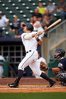 NW Arkansas third baseman Hunter Dozier (9) at bat during a game against the San Antonio Missions on May 31, 2015 at Arvest Ballpark in Springdale, Arkansas.  NW Arkansas defeated San Antonio 3-1.  (Mike Janes/Four Seam Images)