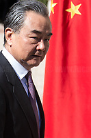"""Wang Yi (Foreign Minister of China). <br /> <br /> Rome, 23/03/2019. The President of the People's Republic of China (General Secretary of the Communist Party of China, and Chairman of the Central Military Commission), Xi Jinping, meets the Italian Prime Minister Giuseppe Conte at Villa Madama during the second day of a three-day State visit to Italy. After the arrival of Xi Jinping greeted with the full honors at the splendid Renaissance Villa designed by Raffaello Sanzio, the Chinese delegation and the Italian delegation led by the Luigi Di Maio (Deputy Prime Minister, Minister of Economic development, Labour and Social Policies, and leader of the Five Star Movement) signed a memorandum of understanding - 29 separate protocols - supporting the """"Belt and Road"""" initiative (part of the """"New Silk Road Project"""") as the first of the Seven major economies in the world. Luigi Di Maio stated that """"the value of individual deals signed amounts to about 2,5 billion euros, with the potential to grow to about 20 billion euros""""."""