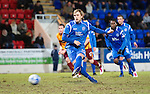 St Johnstone v Motherwell....26.01.11  .Liam Craig scores from the penalty spot after Michael Duberry was fouled.Picture by Graeme Hart..Copyright Perthshire Picture Agency.Tel: 01738 623350  Mobile: 07990 594431