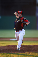 Batavia Muckdogs relief pitcher Chevis Hoover (16) during a game against the West Virginia Black Bears on June 29, 2016 at Dwyer Stadium in Batavia, New York.  West Virginia defeated Batavia 9-4.  (Mike Janes/Four Seam Images)