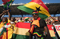 Ghana fans sing during their national anthem at the Loftus Versfeld Stadium before the 2010 World Cup first round match between Serbia and Ghana at Loftus Versfeld Stadium in Pretoria, South Africa on Saturday, June 12, 2010.