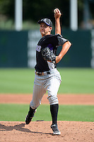 Keith Weisenberg (15) of Osceola High School in Largo, Florida playing for the Colorado Rockies scout team during the East Coast Pro Showcase on August 2, 2013 at NBT Bank Stadium in Syracuse, New York.  (Mike Janes/Four Seam Images)