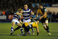 Nick Abendanon of Bath Rugby clashes with Sam Dickinson of Northampton Saints during the Amlin Challenge Cup Final match between Bath Rugby and Northampton Saints at Cardiff Arms Park on Friday 23rd May 2014 (Photo by Rob Munro)