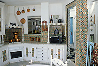 Tunisia, Sidi Bou Said.  Modern Kitchen in Dar Annabi, a Private Home open for Public Viewing.  Originally constructed 18th. century, remodeled 20th. century.