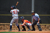 GCL Braves Jonathan Morales (57) at bat in front of catcher Jake Bowey and umpire Michael Boulianne during a game against the GCL Astros on July 23, 2015 at the Osceola County Stadium Complex in Kissimmee, Florida.  GCL Braves defeated GCL Astros 4-2.  (Mike Janes/Four Seam Images)