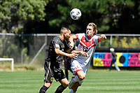 Alexander Greive of Waitakere United competes for the ball with Wan Gatkek of Team Wellington during the ISPS Handa Men's Premiership - Team Wellington v Waitakere Utd at David Farrington Park,Wellington on Saturday 30 January 2021.<br /> Copyright photo: Masanori Udagawa /  www.photosport.nz
