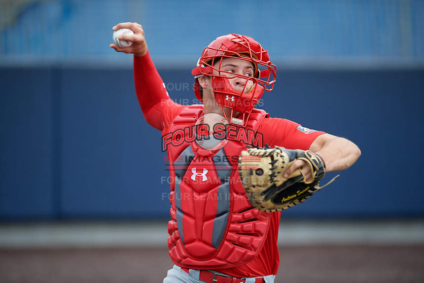 Catcher Daniel Susac (21) during the Under Armour All-America Game Practice, powered by Baseball Factory, on July 21, 2019 at Les Miller Field in Chicago, Illinois.  Daniel Susac attends Jesuit Sacramento High School in Carmichael, California and is committed to the University of Arizona.  (Mike Janes/Four Seam Images)