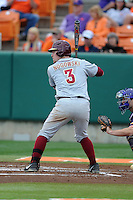 Florida State Seminoles first baseman John Nogowski #3 awaits a pitch during a game against the Clemson Tigers at Doug Kingsmore Stadium on March 22, 2014 in Clemson, South Carolina. The Seminoles defeated the Tigers 4-3. (Tony Farlow/Four Seam Images)