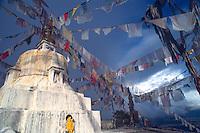 Tibetan prayer flags on Nagarjun hill.