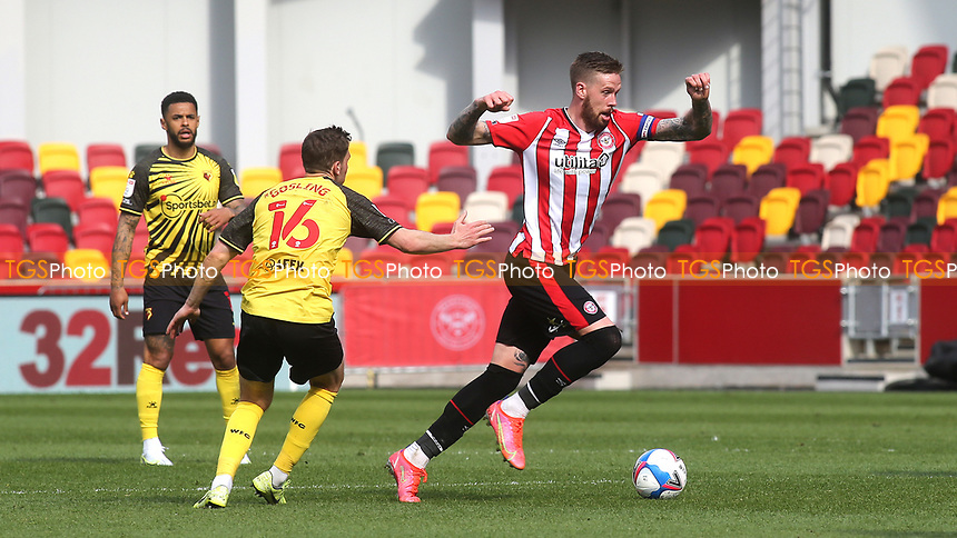 Pontus Jansson of Brentford in action during Brentford vs Watford, Sky Bet EFL Championship Football at the Brentford Community Stadium on 1st May 2021