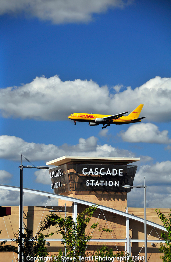DHL plane over Cascade Station in Portland Oregon
