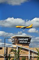 DHL plane over Cascade Station in Portland Oregon