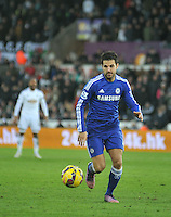 SWANSEA, WALES - JANUARY 17:   of  during the Barclays Premier League match between Swansea City and Chelsea at Liberty Stadium on January 17, 2015 in Swansea, Wales. Chelsea's Cesc Fabregas on the ball