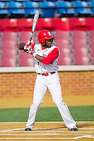 Troy Drummond #1 of the Delaware State Hornets at bat against the Georgetown Hoyas at Gene Hooks Field on February 26, 2011 in Winston-Salem, North Carolina.  Photo by Brian Westerholt / Four Seam Images