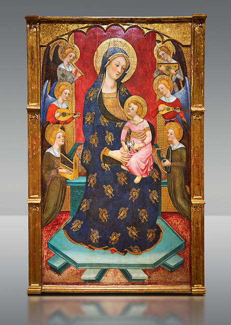 Gothic painted Panel Virgin of the Angels by Pere Serra. Tempera and gold leaf on wood. Circa 1385. 195.8 x 131 x 11 cm. Comes from Tortosa cathedral (Baix Ebre). <br /> This splendid central panel and the two sections of the predella with saints (which must once have flanked a tabernacle) are all that remains of an altarpiece. It was dedicated to the Virgin Mary and was painted for one of the chapels in the ambulatory of Tortosa cathedral, probably towards the 1380s. The compartment with the Virgin and Child surrounded by angels playing music is a very graceful and refined version of an iconographic type that was extremely popular at the time. Pere Serra, author of the altarpiece, came from a family of painters who grew to head the Catalan painting of the second half of the fourteenth century. National Museum of Catalan Art, Barcelona, Spain, inv no: 003950-000